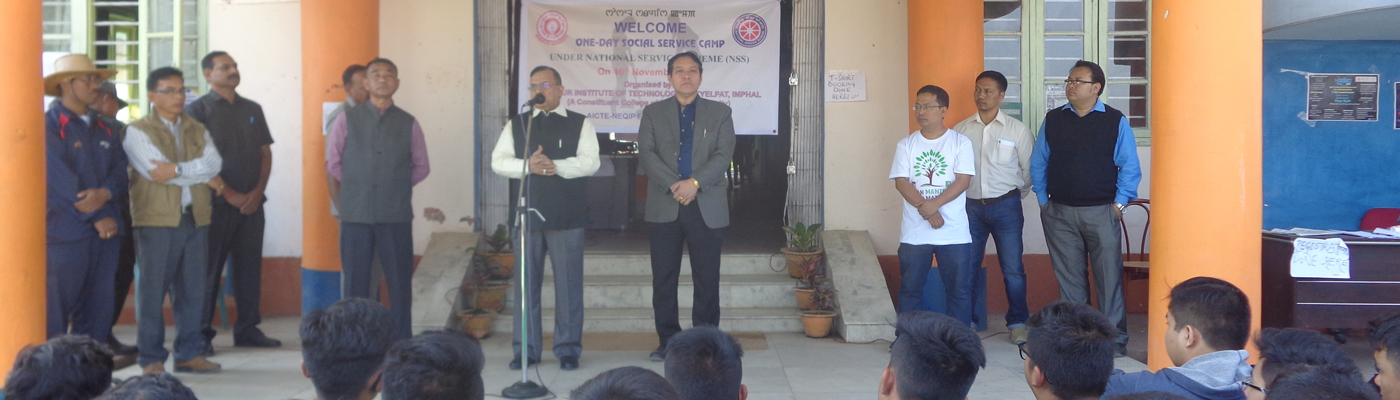 Prof Adya Prasad Pandey, Vice Chancellor, Manipur University  giving speech on One day social service camp under NSS on 10th Nov., 2017