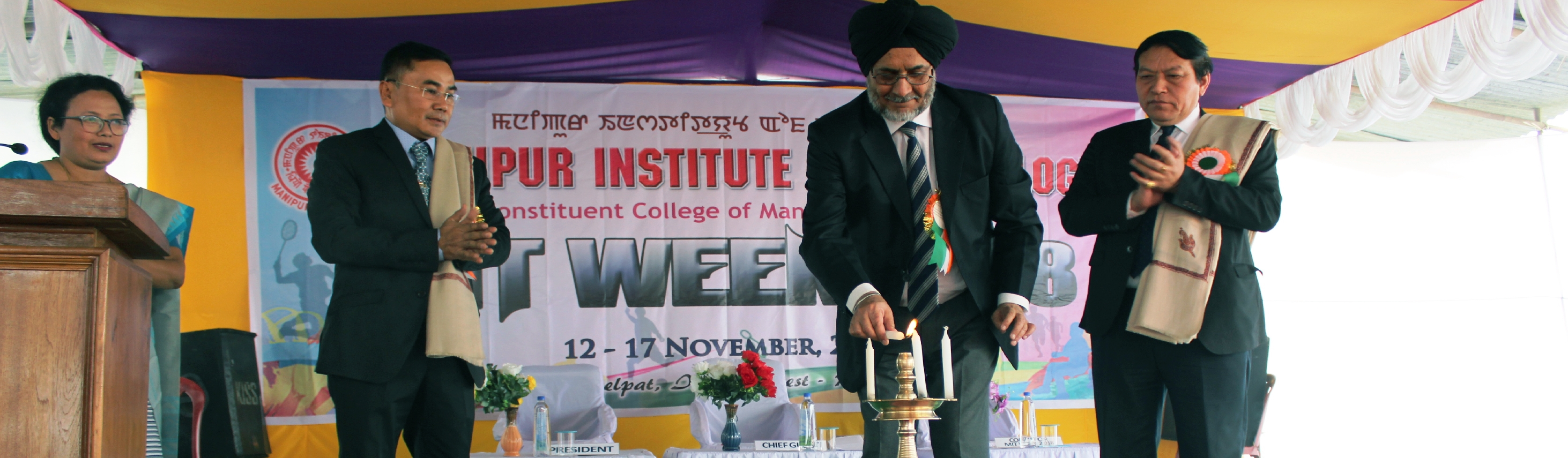LIGHTING THE CANDLE BY SHRI JARNAIL SINGH, ADMINISTRATOR, MANIPUR UNIVERSITY AT THE VALEDICTORY FUNCTION OF MIT WEEK 2018 ON 17th NOV, 2018